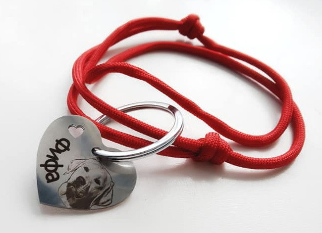 Адресник с гравировкой по фото кулон для собак и кошек жетон сердце