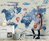 Большой выбор детский обоев. Фотообои с картой мира и воздушными шарами