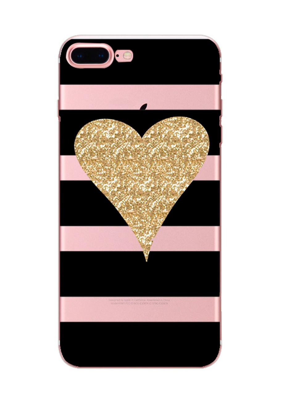 Чехол Print fashion для iPhone 7 Plus с принтом Сердце и полосы (r_i56)