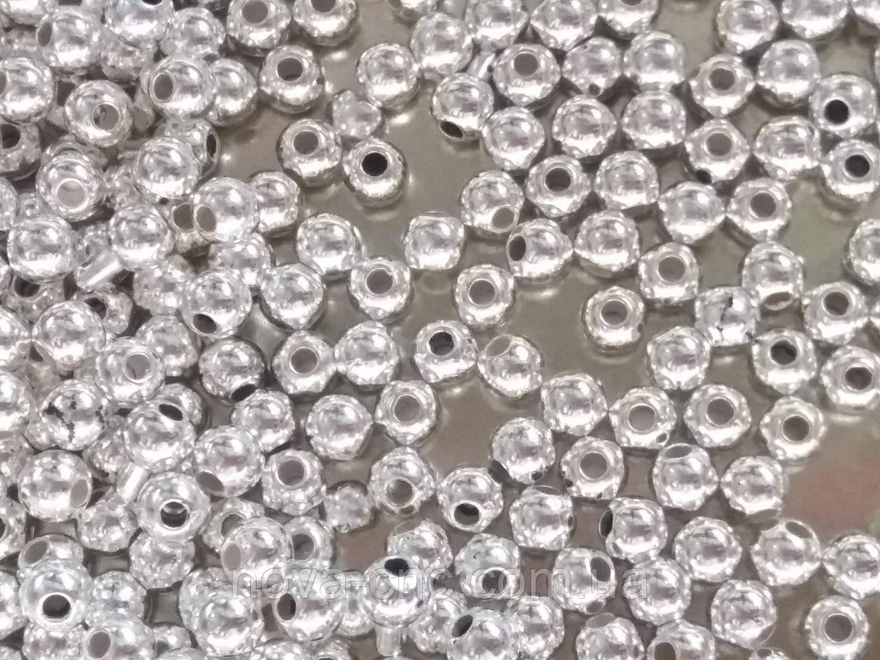 """Намистини """"міні куля"""" срібло 4 мм 500 грам"""
