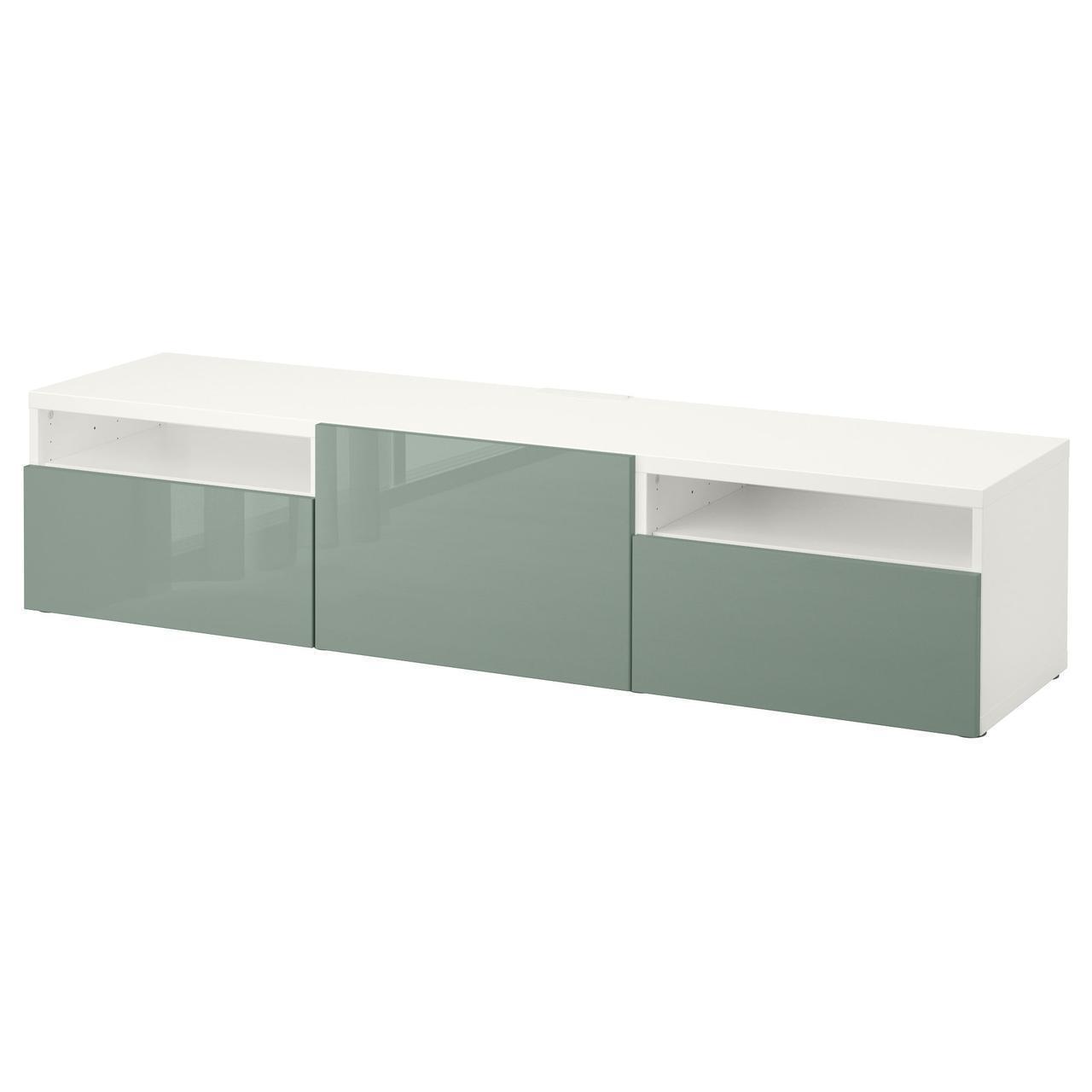 IKEA BESTA Тумба под телевизор с ящиками, белый, Сельсвикен (491.985.23)