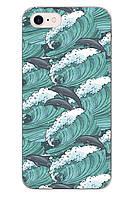 Чехол Print fashion для iPhone 8 с принтом Дельфины (r_i 96)