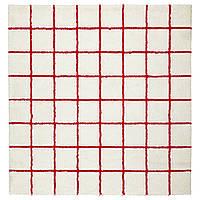 IKEA SIMESTED Ковер с длинным ворсом, белый, красный (804.351.93)