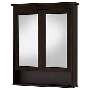 IKEA HEMNES Шкаф с зеркалом и дверью, черно-коричневая Морилка  (602.176.76)