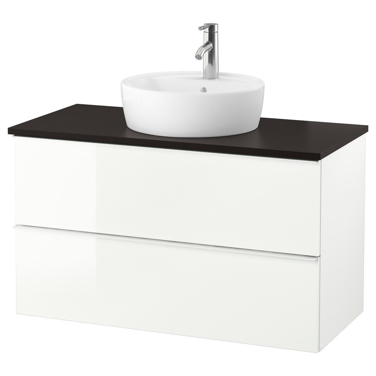 IKEA GODMORGON/TOLKEN/TORNVIKEN Шкаф под умывальник с раковиной, глянцевый белый, антрацит  (591.852.52)