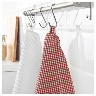 IKEA TROLLPIL Кухонное полотенце, белый, красный  (803.720.01)