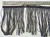 УЦІНКА!!! Відріз 50 см!!! Бахрома танцювальна чорна з срібним люрексом (лапша) 15 см, тасьма 1 см, нитки 14 см, фото 1