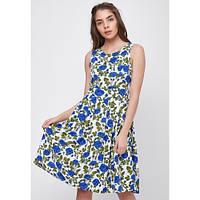 Летнее легкое платье в яркий цветочный принт с пышной юбкой SFN