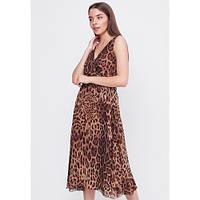 Легкое летнее леопардовое платья миди, с пышной юбкой без рукавов SFN