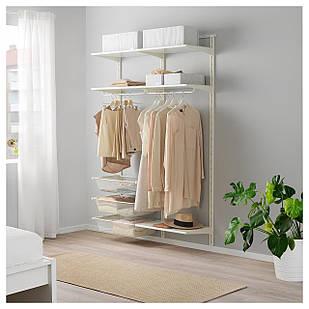 IKEA ALGOT Стеллаж с полками и вешалкою, белый  (792.762.46)