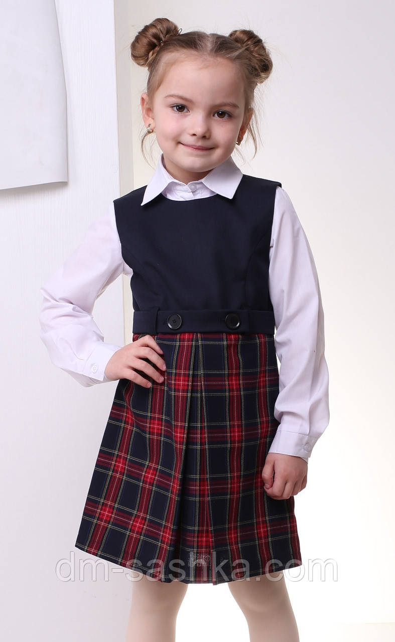 Школьный сарафан для девочки синий