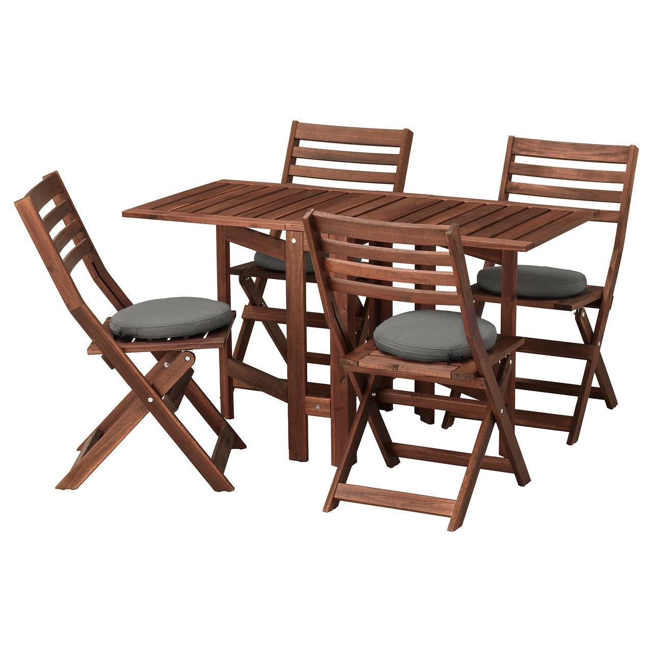 IKEA APPLARO Садовый стол и 4 раскладных стулья, коричневая морилка, (992.685.75)