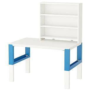 IKEA PAHL Стол с полкой, белый, синий  (091.289.71)
