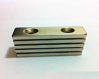 Неодимовый магнит. Прямоугольный 60х20x4,5 мм, с двумя отверстиями по 5,5 мм