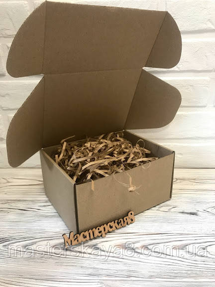 Коробка 190*150*100 мм крафт для подарунка з крафт/коричневим наповнювачем , для сувеніра, для мила