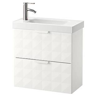 IKEA GODMORGON/HAGAVIKEN Шкаф под умывальник с раковиной, Ресжöн белый  (092.473.04)