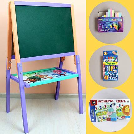 Мольберт детский двухсторонний разборной для рисования мелом и маркерами, фото 2