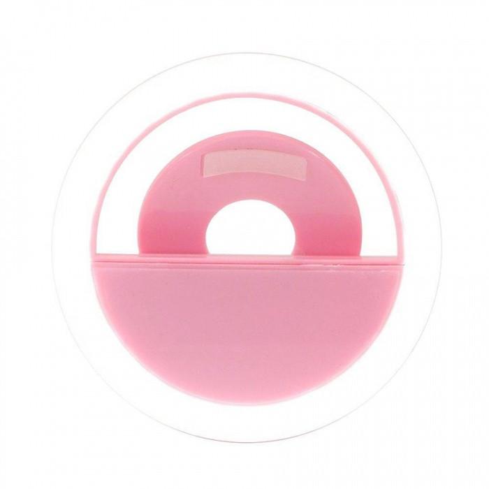 Светодиодное кольцо-вспышка LED Selfie Ring Light USB Розовый