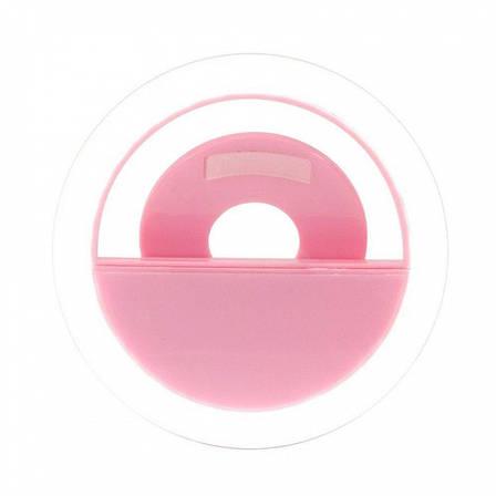 Светодиодное кольцо-вспышка LED Selfie Ring Light USB Розовый, фото 2