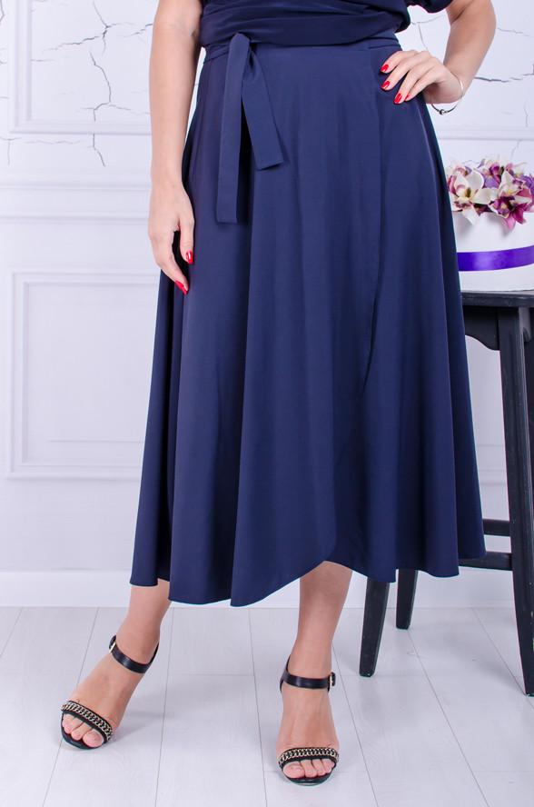 Модная юбка на запах размер плюс Маргери темно-синяя (50-60)