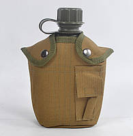 Пластиковая Фляга в чехле хаки на 1 литр