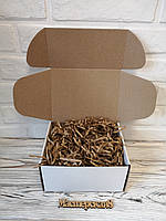 Коробка белая 190*150*100 мм для подарка с крафт/коричневым наполнителем , для сувенира, для мыла, фото 1