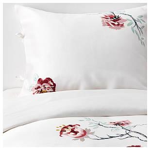 IKEA JATTELILJA Комплект постельного белья, белый, цветочный узор  (004.125.29)