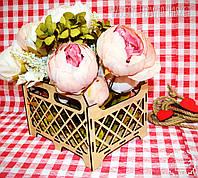 Декоративная Деревянная Корзинка Ящик Сетка Маленьк для оформления цветов букетов дерев'яна корзина для квітів, фото 1
