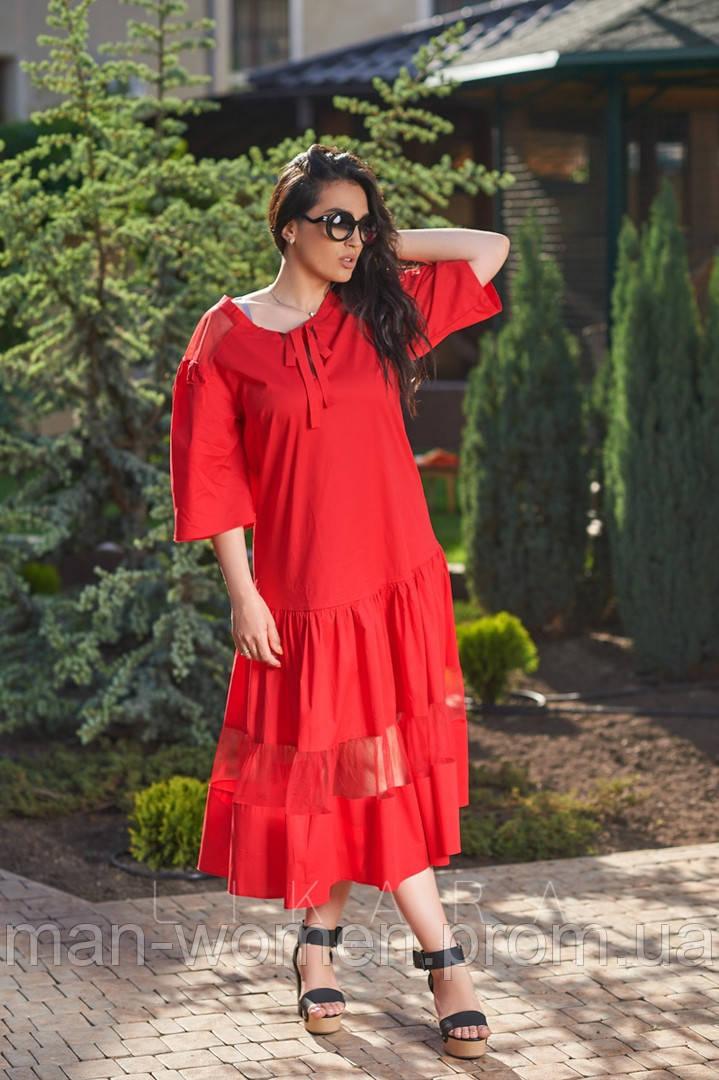 Платье свободного кроя, декорирован сеткой подол от LIKARA. Размер: 50,52,54,56 (РОЗНИЦА +30грн)