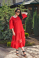 Платье свободного кроя, декорирован сеткой подол от LIKARA. Размер: 50,52,54,56 (РОЗНИЦА +30грн), фото 1