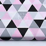 Лоскут ткани с серыми розовыми и чёрными треугольниками (размером 4 см), №1658а, размер 31*80, фото 2