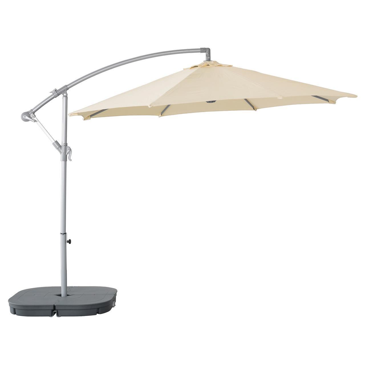 IKEA KARLSO/SVARTO Зонт подвесной с подставкой, бежевый, темно-серый  (990.484.37)