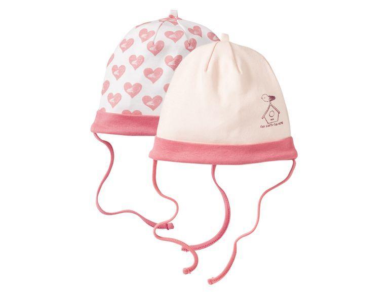 Комплект шапок белая и розовая Lupilu (Германия) р.74/80см (6-12мес.)