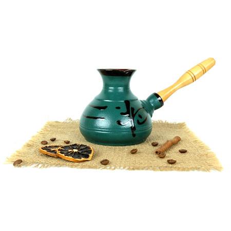 Турка Иероглиф бирюза керамическая с деревянной ручкой 350 мл
