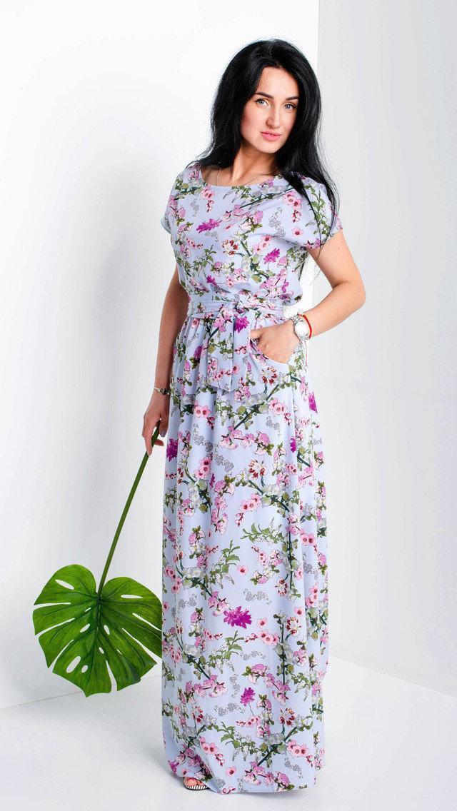 Женское летнее платье в пол. Размеры 58-60.