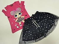 Нарядный костюм на девочку футболка розовая + юбка на 3-4.года