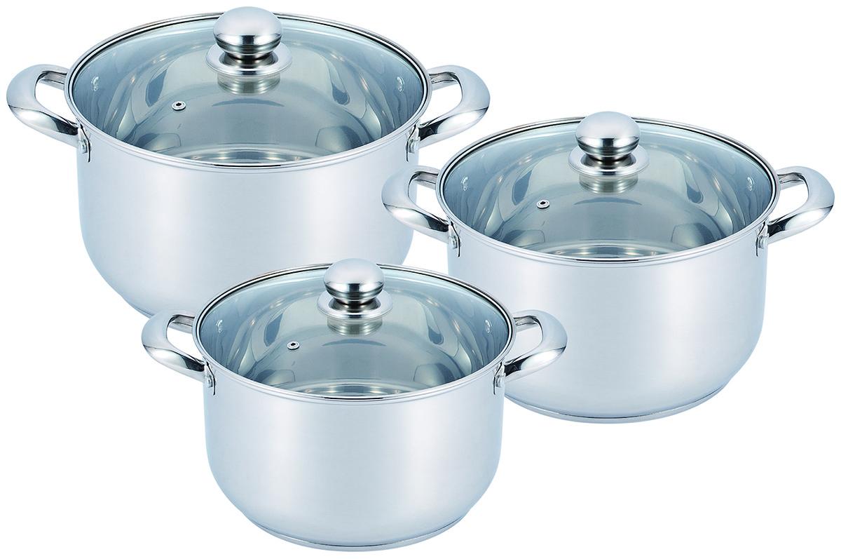 Набор посуды Benson BN-2013 3 кастрюли с крышками (8,5 л 10 л 14 л) нержавеющая сталь
