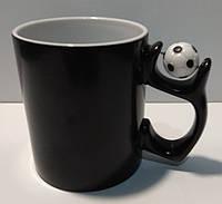 Чашка для сублимации Хамелеон с футбольным мячом полуматовая (черный)