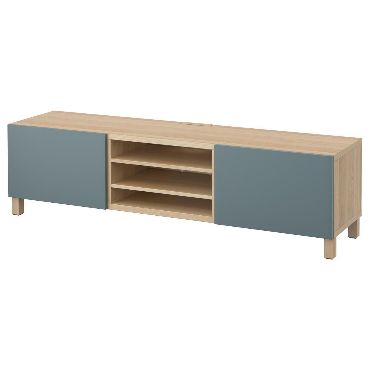 IKEA BESTA Тумба под телевизор с ящиками, белый дуб, Вальвикен сзаротуркусови  (391.886.28)