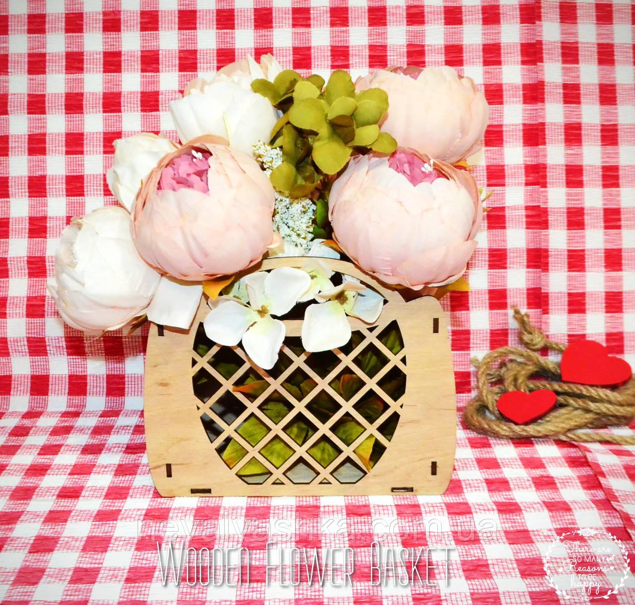 Декоративная Деревянная Корзинка Маленькая для оформления цветов букетов дерев'яна корзина для квітів