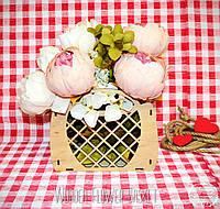 Декоративная Деревянная Корзинка Маленькая для оформления цветов букетов дерев'яна корзина для квітів, фото 1