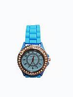 Часы женские с камнями Geneva Silicon Голубые