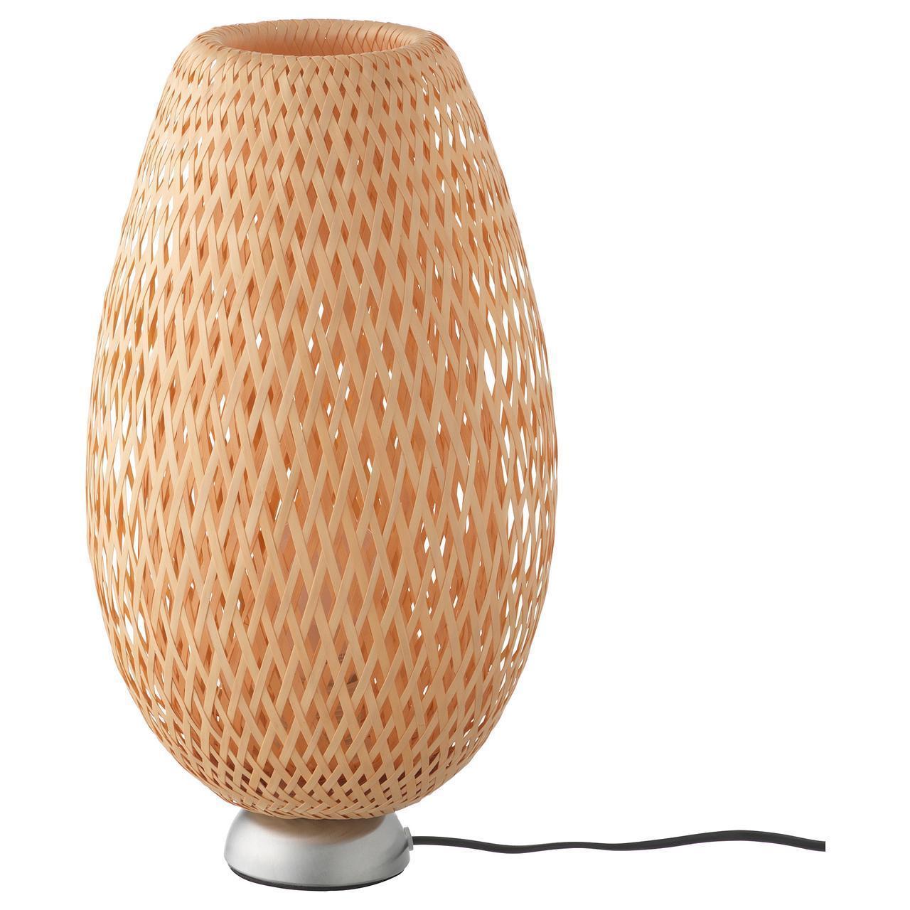 IKEA BOJA Наcтольная лампа, никелированная, бамбук ротанг  (601.522.79)