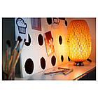 IKEA BOJA Наcтольная лампа, никелированная, бамбук ротанг  (601.522.79), фото 3