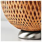 IKEA BOJA Наcтольная лампа, никелированная, бамбук ротанг  (601.522.79), фото 7