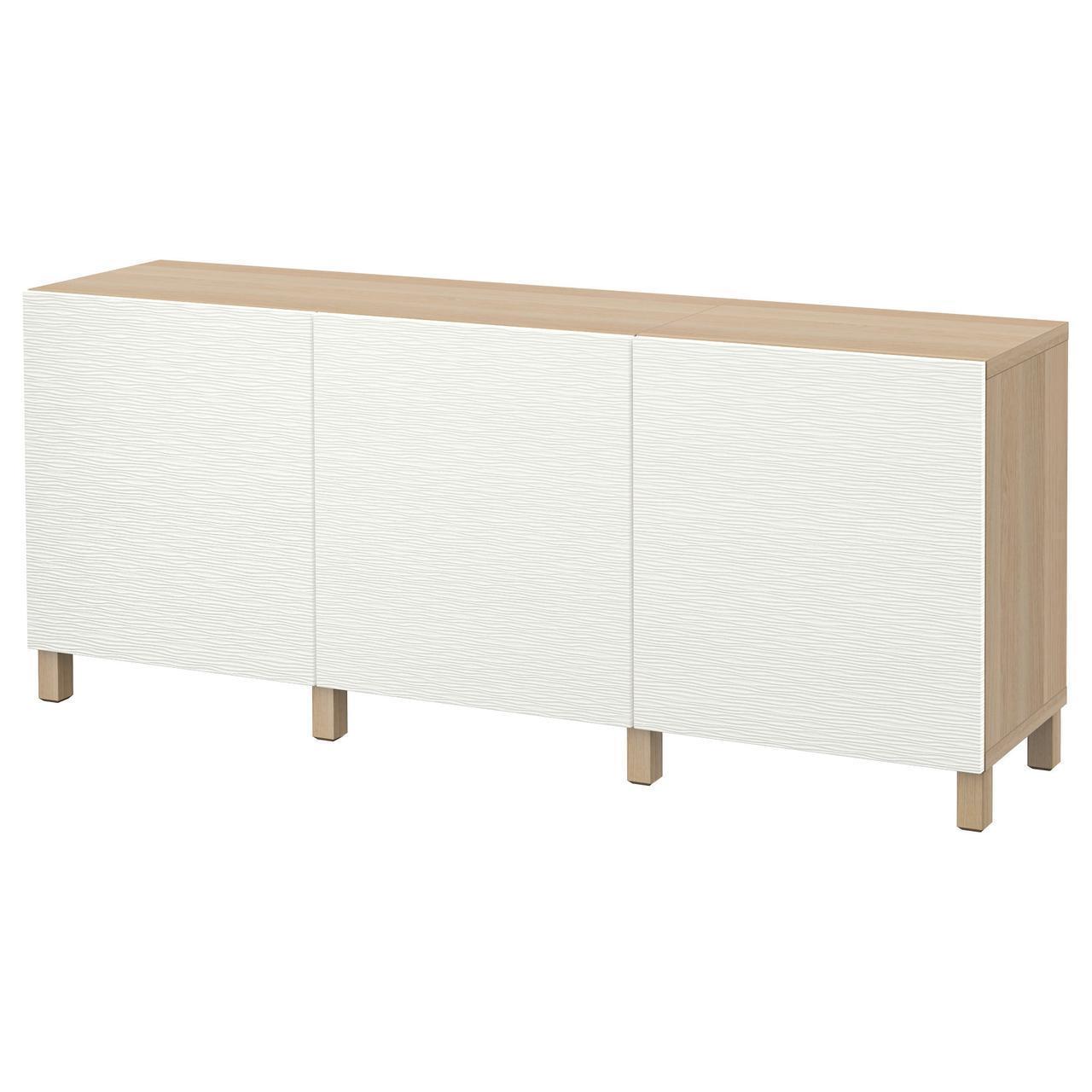 IKEA BESTA Тумба, белый стаинедед дуб, Лаксвикен белый  (091.399.03)