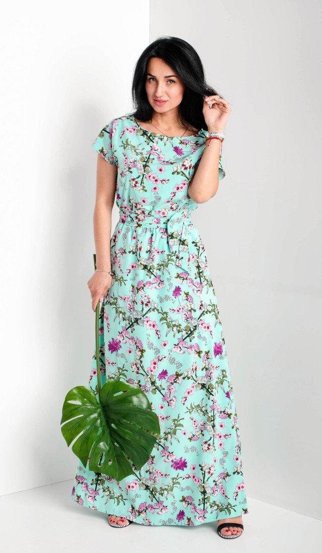 Женское летнее платье в пол. Размеры 56-58