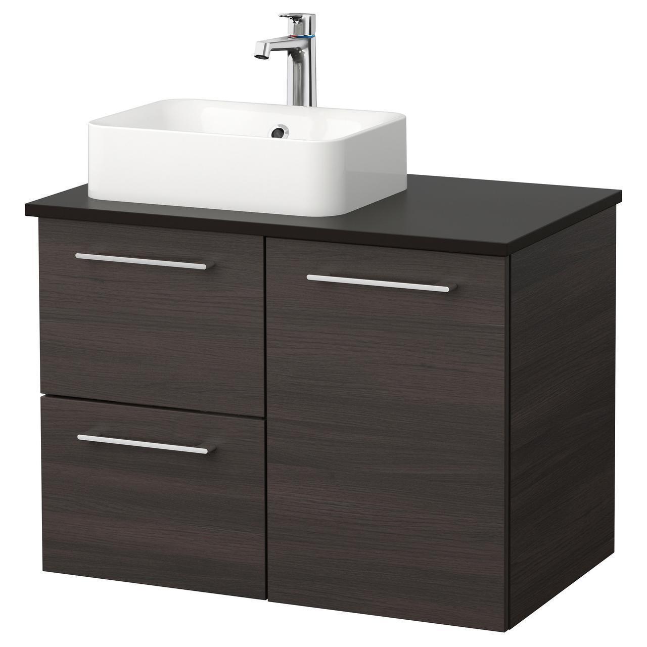 IKEA GODMORGON/TOLKEN/HORVIK Шкаф под умывальник с раковиной 45x32, черно-коричневый, антрацит  (592.080.03)
