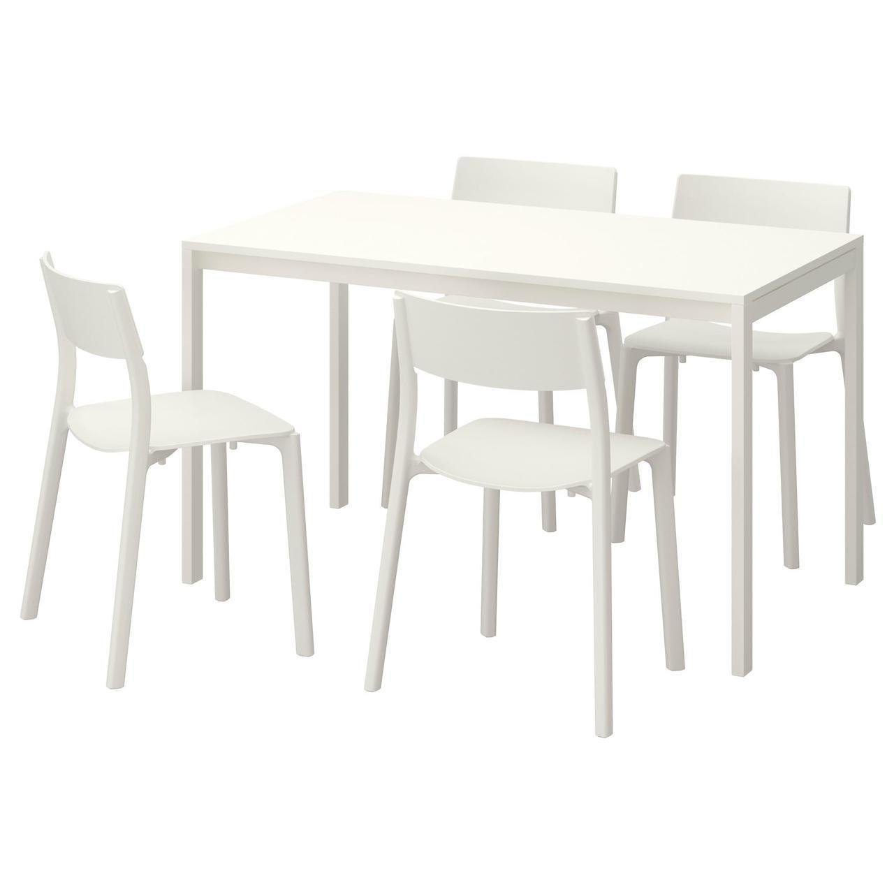 IKEA MELLTORP/JANINGE Стол и 4 стула, белый, белый  (591.614.87)
