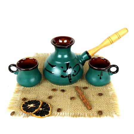 Турка Иероглиф бирюза керамическая с деревянной ручкой и чашками 350 мл